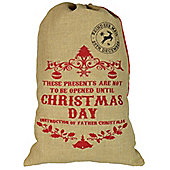 Christmas Stocking, Hessian Gift Sack - 'Not To Be Opened Until Christmas Day'