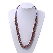 Purple Glass Bead Twisted Necklace - 60cm Length