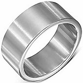 Urban Male Brushed Solid Stainless Steel Plain Silver Band Ring 10mm For Men