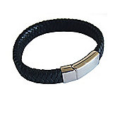 Tribal Steel Men's Flat Black Leather Snake Braid Bracelet - 24cm