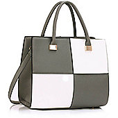 KCMODE Ladies Grey / White Fashion Tote Handbag