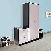 Homcom High Gloss Bedroom Furniture Set Wardrobe Chest Bedside
