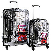 Swiss Case 4 Wheel Spinner 2Pc Strong Abs Suitcase / Luggage Set London Bus