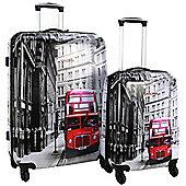 Swiss Case 4-Wheel 2Pc Hard Suitcase Set, London Bus