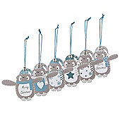Set of Six Wooden Penguin Christmas Tree Decorations