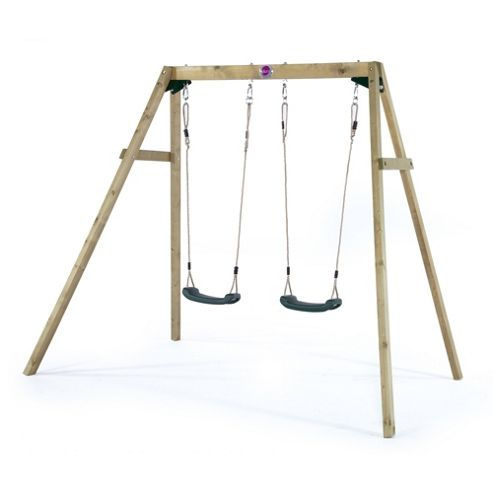 Plum Wooden Double Swing Set