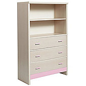 Fan Faro 3 Drawer Chest With shelving Unit Top With Pink Trims
