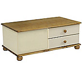 Cabo - Solid Wood Coffee Table With 4 Drawers - Pine / Cream