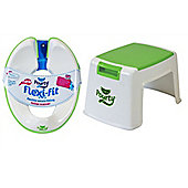 POURTY BUNDLE - Pourty Flexi Fit Toilet Trainer (White/Green) AND Pourty Step Up - GREEN - 2 ITEMS SUPPLIED