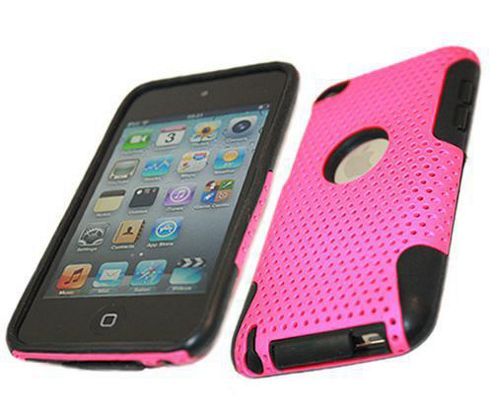 iTALKonline 16957 FuZion Soft Silicone Case and Hard Pink Back Cover Black For - Apple iPod Touch 4