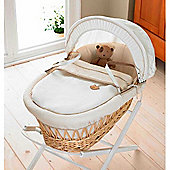 Izziwotnot Cream Gift Wicker Moses Basket - Natural