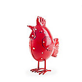 Betty the Red & White Spotted Metal Hen / Chicken Garden Ornament