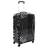 Beverly Hills Polo Club 4-Wheel Hard Shell Suitcase, Black Oyster Print Large