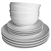 Tesco Casual Swirl Embossed Orbit 12 Piece, 4 Person Porcelain Dinner Set, White