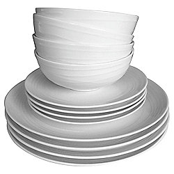 Casual Swirl Embossed Orbit 12 Piece, 4 Person Dinner Set