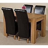 Kuba Chunky Solid Oak 125 cm Dining Table with 4 Black Montana Chairs