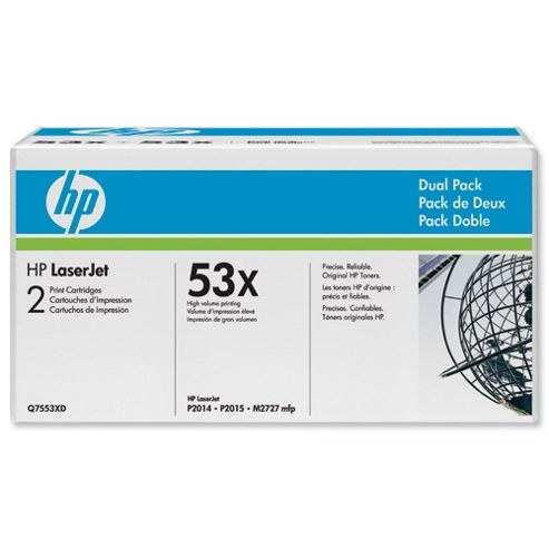 Bundle: HP 53X Black Smart Print Cartridge (Yield 7,000 Pages) Dual Pack for LaserJet M2727mfp, P2014, P2015