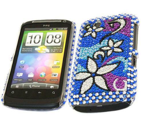Blue Silver Flower FunkGem Back Cover Case - HTC Desire S