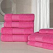 Dreamscene Luxury Egyptian Cotton 7 Piece Bathroom Towel Set - Fuchsia
