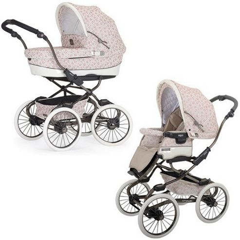 Bebecar Stylo Class EL Prive Luxury Combination Pram (Floral Pink)
