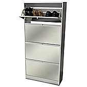 Visage - 4 Door Mirrored 24 Pair Shoe Storage Cabinet - White