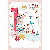 Pink Rabbit Age 1 Birthday Card