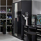 Welcome Furniture Knightsbridge Tall Single Wardrobe - Black - Ebony