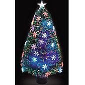 4ft Fibre Optic Snowflake Christmas Tree with Multicoloured LEDs