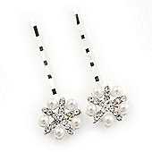 2 Bridal/ Prom Crystal, Simulated Pearl 'Flower' Hair Grips/ Slides In Rhodium Plating - 55mm Across