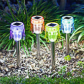 Set of 4 Multi Coloured LED Toadstool Solar Garden Stake Lights