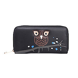 Black Owl Applique Zip Up Purse