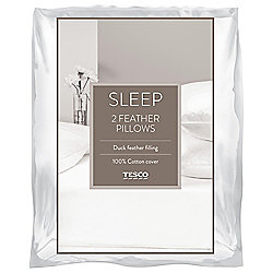 Tesco Duck Feather Pillow Twinpack