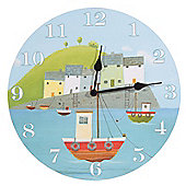 Jan Pashley 30cm Picture Wall Clock, Fishing Boats & Harbour