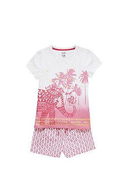 F&F Elephant Shorts Pyjamas - Pink