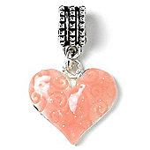 Peach Heart Hanging Slide On Charm Bead