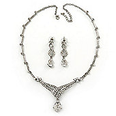 Bridal Swarovski Crystal Bib Necklace & Drop Earrings Set In Silver Plating - 44cm Length/ 5cm Extension