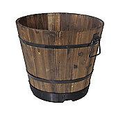 VegTrug Medium Wooden Barrel Planter 46cm