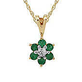 Gemondo 9ct Yellow Gold 0.23ct Emerald & Diamond Floral Cluster Pendant on Chain