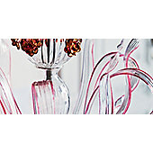 De Majo 7056 Chandelier - 105 cm H x 105 cm Dia - Clear Glass / Ruby / Gold