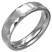 Urban Male Solid Tungsten Carbide Faceted Edge Polished Ring