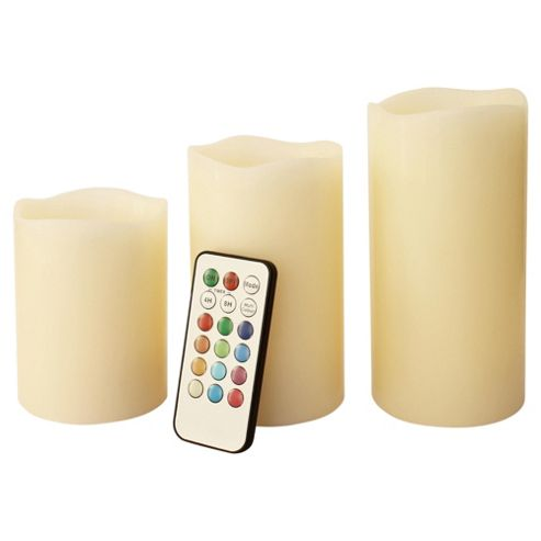 Frostfire 3 Colour Changing Non Drip Wax Vanilla Scent Candles, Remote Control and Timer