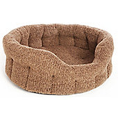P & L Superior Pet Beds Machine Washable Premium Oval Sherpa Fleece Softee Dog Bed - Brown Fleck - Small (20cm H x 41cm W x 36cm D)