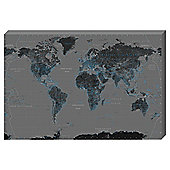 World Map Negative Canvas, 91x61cm