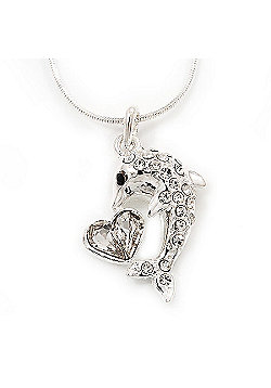 Crystal 'Dolphin & Heart' Pendant Necklace In Rhodium Plated Metal - 42cm Length