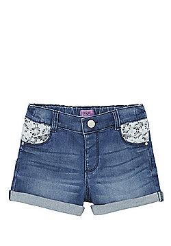 F&F Crochet Detail Denim Shorts - Blue