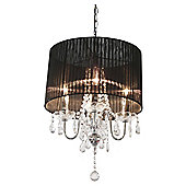 Home Essence Beaumont Four Light Chandelier in Chrome - Black