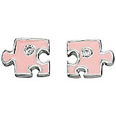 Girl's Pink Puzzle Piece Silver Stud Earrings