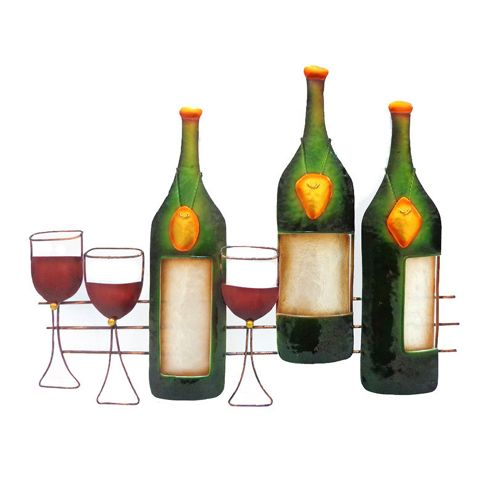 Novus Imports Wine Bar Metal and Glass Metal Wall Art