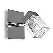IP44 Ice Cube Single Bathroom Spotlight in Black Chrome