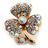 Tiny AB Crystal Clover Pin Brooch (Gold Tone)
